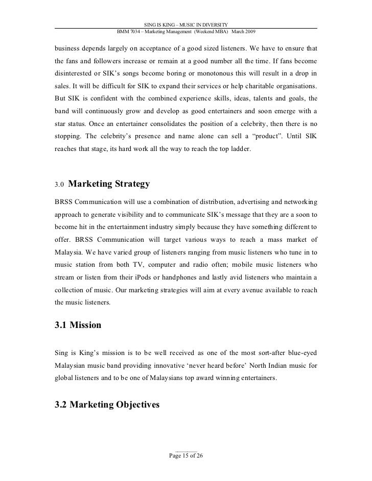 Sample Marketing Plan - Music Industry