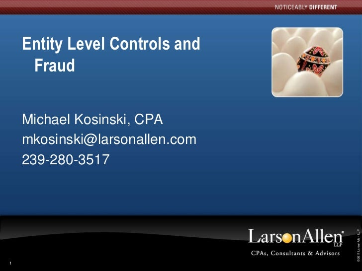 Entity Level Controls and     Fraud    Michael Kosinski, CPA    mkosinski@larsonallen.com    239-280-3517                 ...