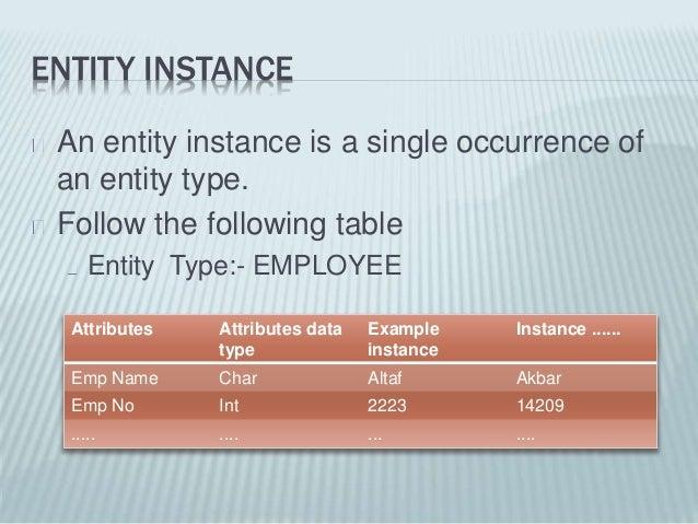entity  types  attibute types