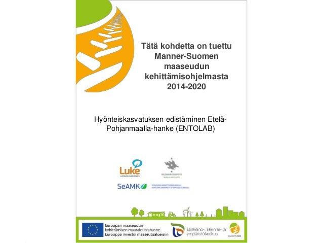 © Luonnonvarakeskus Tätä kohdetta on tuettu Manner-Suomen maaseudun kehittämisohjelmasta 2014-2020 Hyönteiskasvatuksen edi...