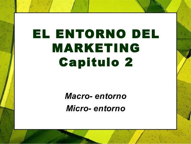 EL ENTORNO DEL MARKETING Capitulo 2 Macro- entorno Micro- entorno
