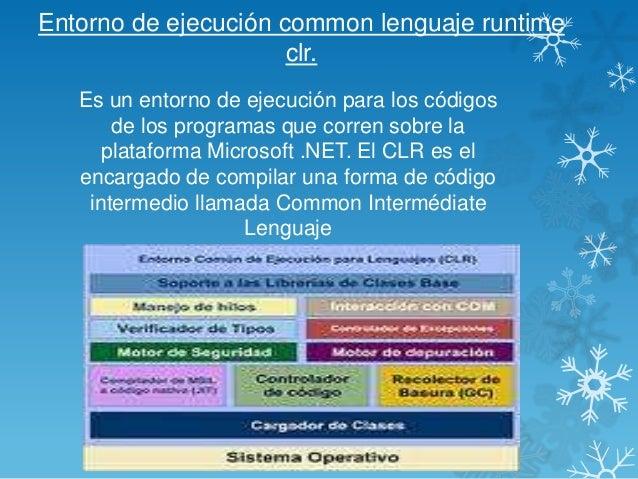 Entorno de ejecución common lenguaje runtime clr. Es un entorno de ejecución para los códigos de los programas que corren ...