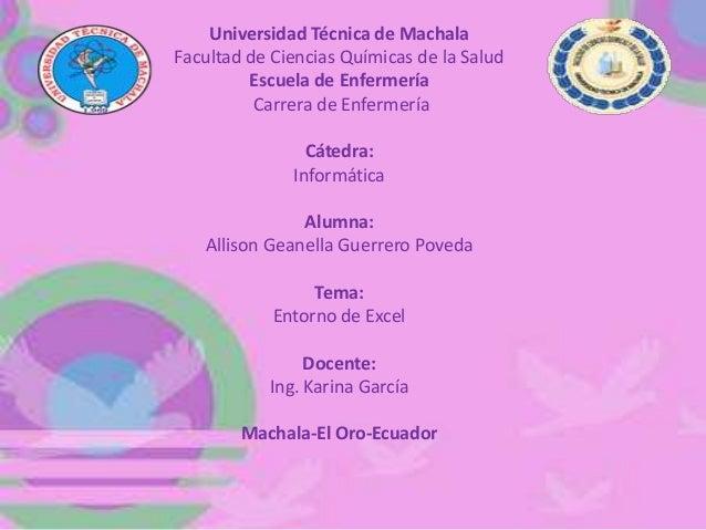 Universidad Técnica de Machala Facultad de Ciencias Químicas de la Salud Escuela de Enfermería Carrera de Enfermería Cáted...