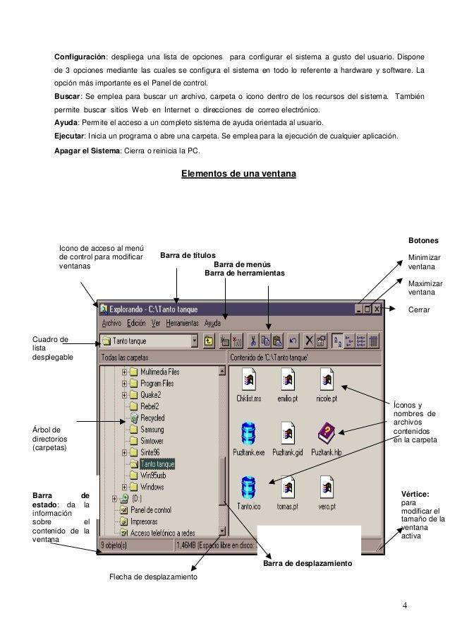 Configuración: despliega una lista de opciones para configurar el sistema a gusto del usuario. Dispone  de 3 opciones medi...