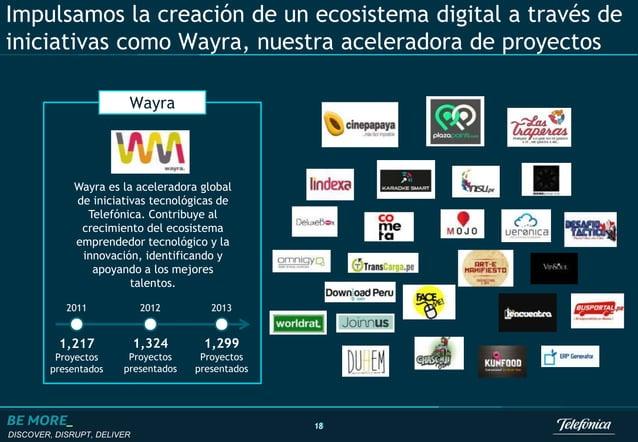 DISCOVER, DISRUPT, DELIVER 18 Impulsamos la creación de un ecosistema digital a través de iniciativas como Wayra, nuestra ...