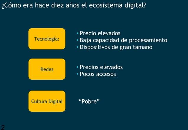 2 ¿Cómo era hace diez años el ecosistema digital? • Precio elevados • Baja capacidad de procesamiento • Dispositivos de gr...