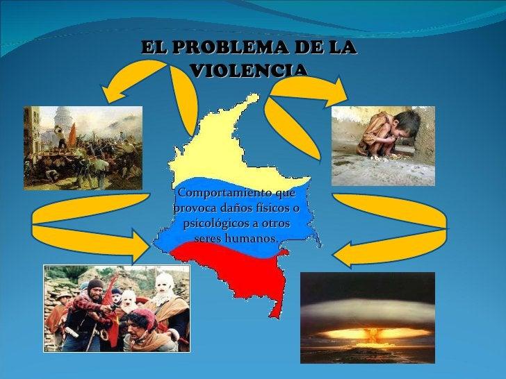 EL PROBLEMA DE LA VIOLENCIA Comportamiento que provoca daños físicos o psicológicos a otros seres humanos .