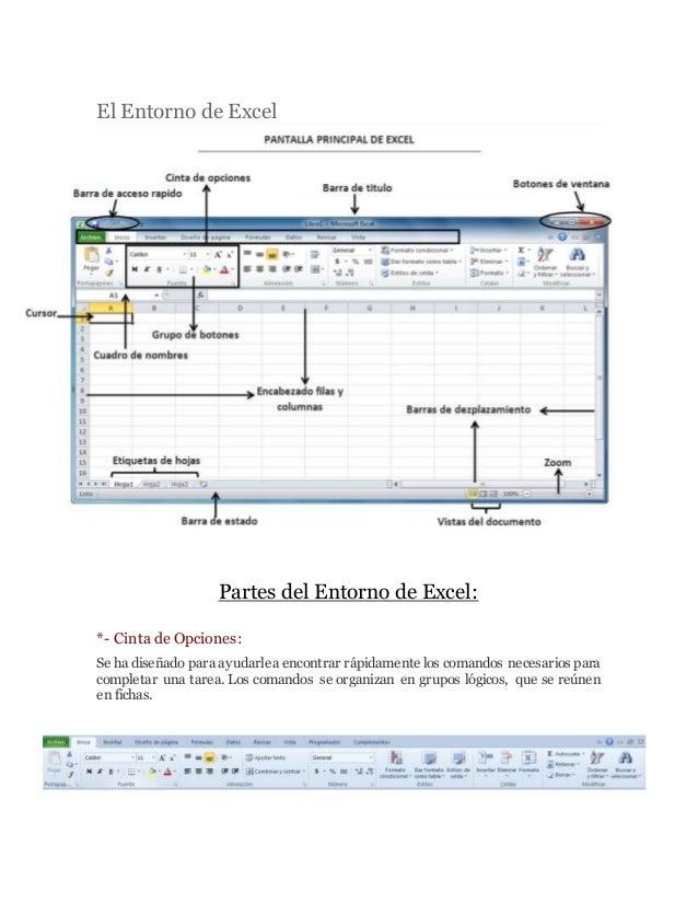 El Entorno de Excel Partes del Entorno de Excel: *- Cinta de Opciones: Se ha diseñado para ayudarlea encontrar rápidamente...