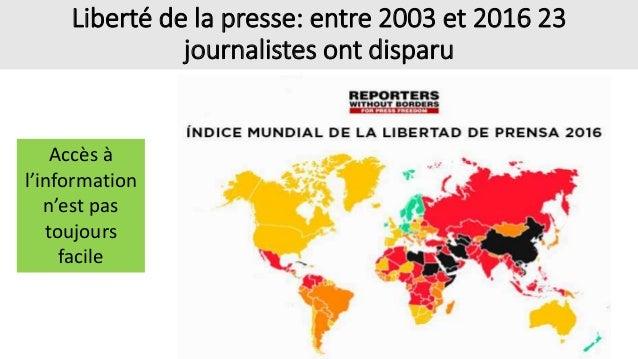 Liberté de la presse: entre 2003 et 2016 23 journalistes ont disparu Accès à l'information n'est pas toujours facile