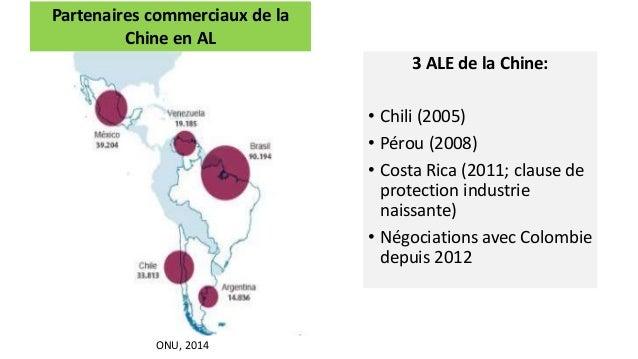 3 ALE de la Chine: • Chili (2005) • Pérou (2008) • Costa Rica (2011; clause de protection industrie naissante) • Négociati...