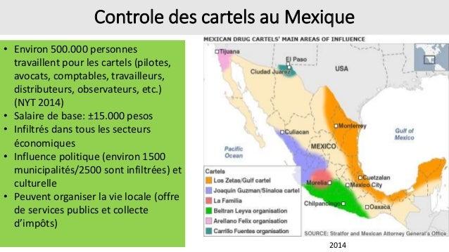 Présence des cartels sur le territoire national (carte de 2014) MTY: 80% des boutiques sont du blanchiment (source propre)