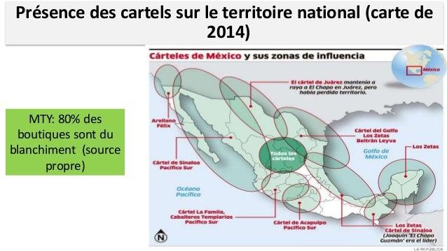 Nombre de municipalités dans lesquelles opèrent les différents cartels Fuente: Coscia y Rios 2012