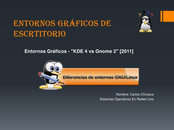 """ENTORNOS GRÁFICOS DE ESCRTITORIO<br />Entornos Gráficos - """"KDE 4 vs Gnome 2"""" [2011]<br />Nombre: Carlos Chicaiza<br />Sist..."""