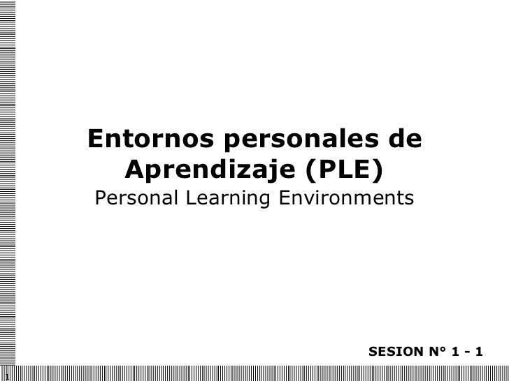 Entornos personales de Aprendizaje (PLE) Personal Learning Environments SESION N° 1 - 1