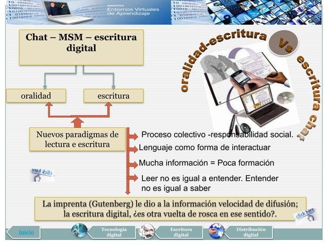 Chat – MSM – escritura          digitaloralidad               escritura         Nuevos paradigmas de        Proceso colect...