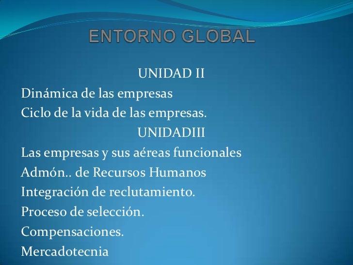 ENTORNO GLOBAL<br />UNIDAD II<br />Dinámica de las empresas<br />Ciclo de la vida de las empresas.<br />UNIDADIII<br />Las...
