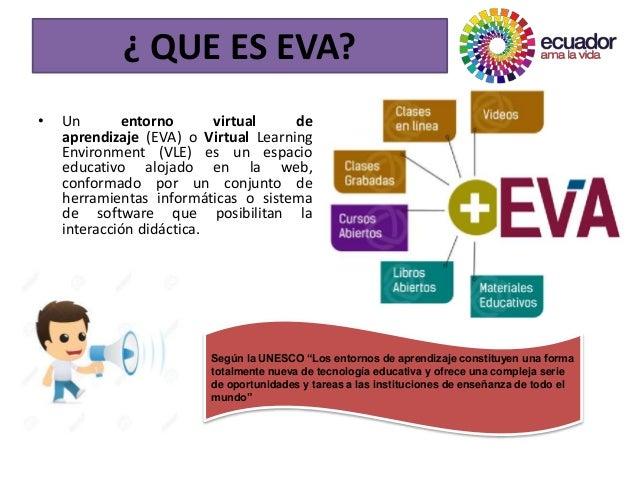 • Un entorno virtual de aprendizaje (EVA) o Virtual Learning Environment (VLE) es un espacio educativo alojado en la web, ...