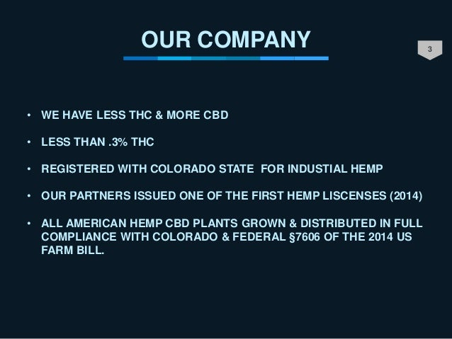 3 OUR COMPANY • WE HAVE LESS THC & MORE CBD • LESS THAN .3% THC • REGISTERED WITH COLORADO STATE FOR INDUSTIAL HEMP • OUR ...