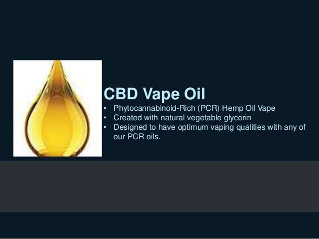 CBD Vape Oil • Phytocannabinoid-Rich (PCR) Hemp Oil Vape • Created with natural vegetable glycerin • Designed to have opti...