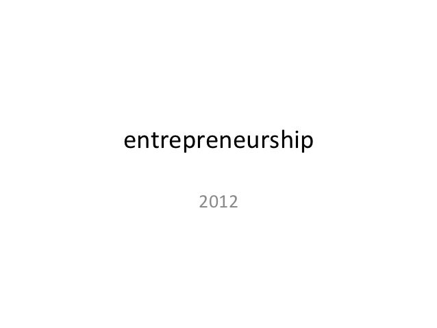 entrepreneurship	         2012