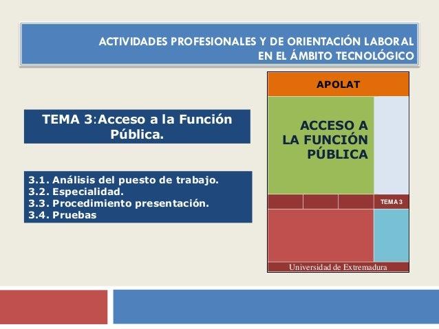 ACTIVIDADES PROFESIONALES Y DE ORIENTACIÓN LABORAL EN EL ÁMBITO TECNOLÓGICO APOLAT  TEMA 3:Acceso a la Función Pública.  3...