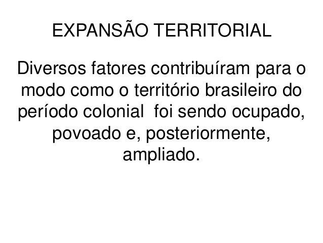 EXPANSÃO TERRITORIALDiversos fatores contribuíram para omodo como o território brasileiro doperíodo colonial foi sendo ocu...