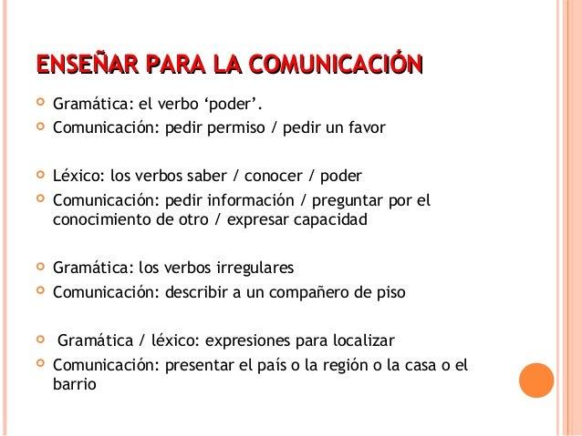 ENSEÑAR PPAARRAA LLAA CCOOMMUUNNIICCAACCIIÓÓNN   Gramática: el verbo 'poder'.   Comunicación: pedir permiso / pedir un f...