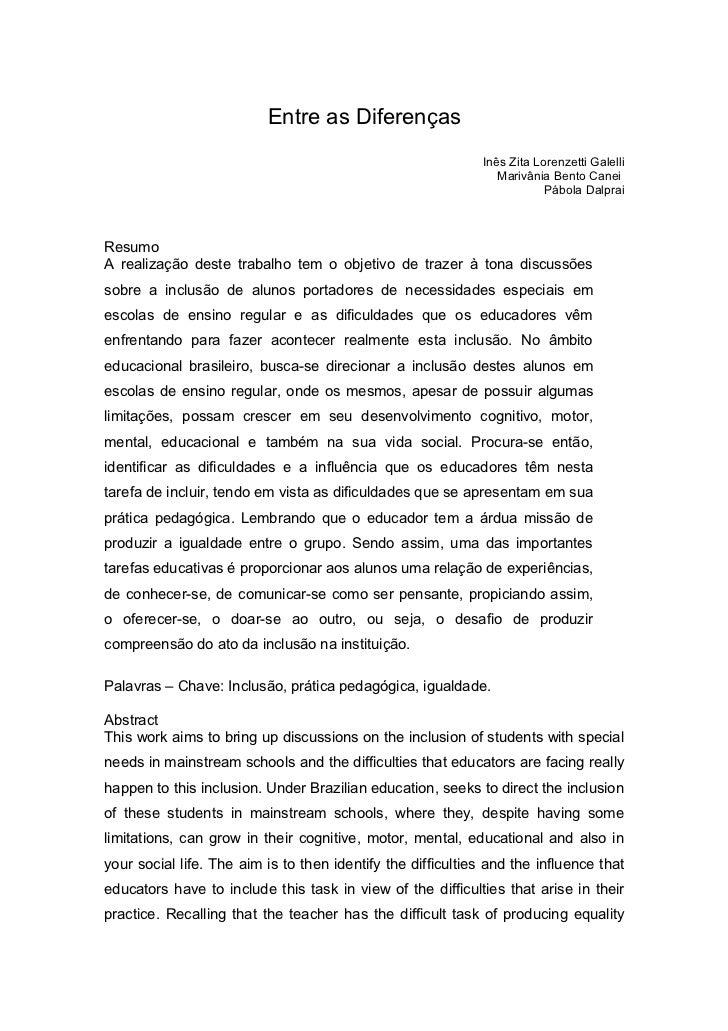 Entre as Diferenças                                                             Inês Zita Lorenzetti Galelli              ...