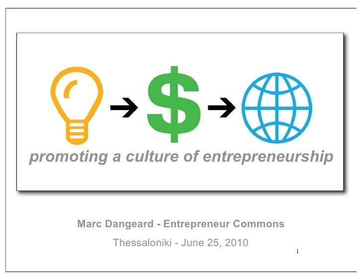promoting a culture of entrepreneurship          Marc Dangeard - Entrepreneur Commons             Thessaloniki - June 25, ...