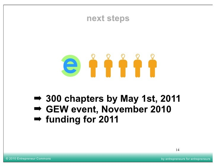 next steps                     ➡ 300 chapters by May 1st, 2011                 ➡ GEW event, November 2010                 ...