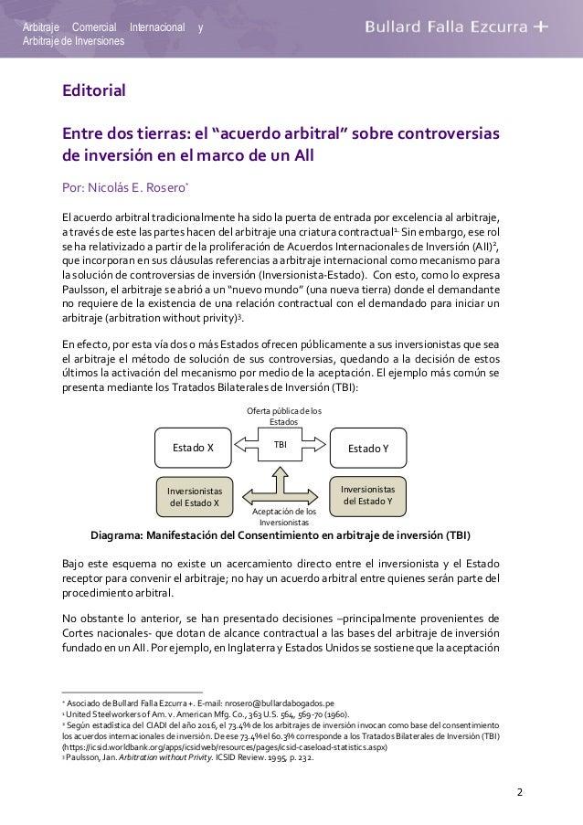 """2 Arbitraje Comercial Internacional y Arbitraje de Inversiones Editorial Entre dos tierras: el """"acuerdo arbitral"""" sobre co..."""
