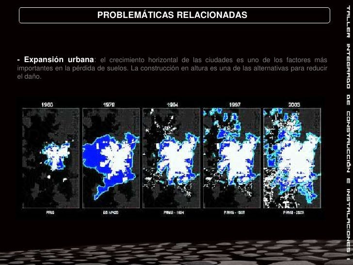 PROBLEMÁTICAS RELACIONADAS<br />- Expansión urbana: el crecimiento horizontal de las ciudades es uno de los factores más i...