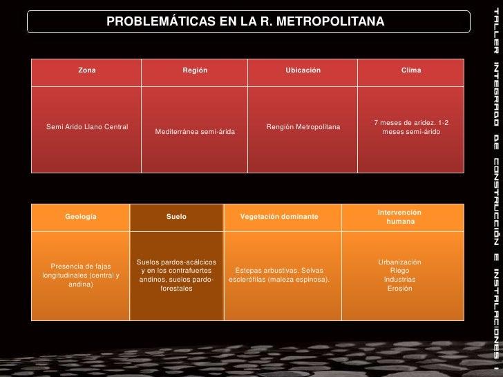 PROBLEMÁTICAS EN LA R. METROPOLITANA<br />