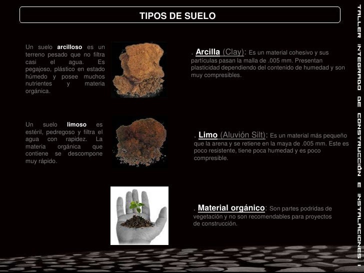 TIPOS DE SUELO<br />Un suelo arcilloso es un terreno pesado que no filtra casi el agua. Es pegajoso, plástico en estado hú...