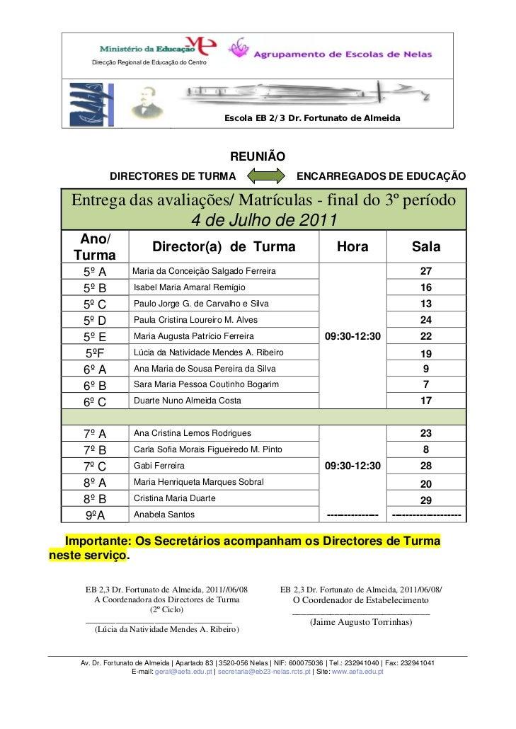 Direcção Regional de Educação do Centro                                                 Escola EB 2/3 Dr. Fortunato de Alm...