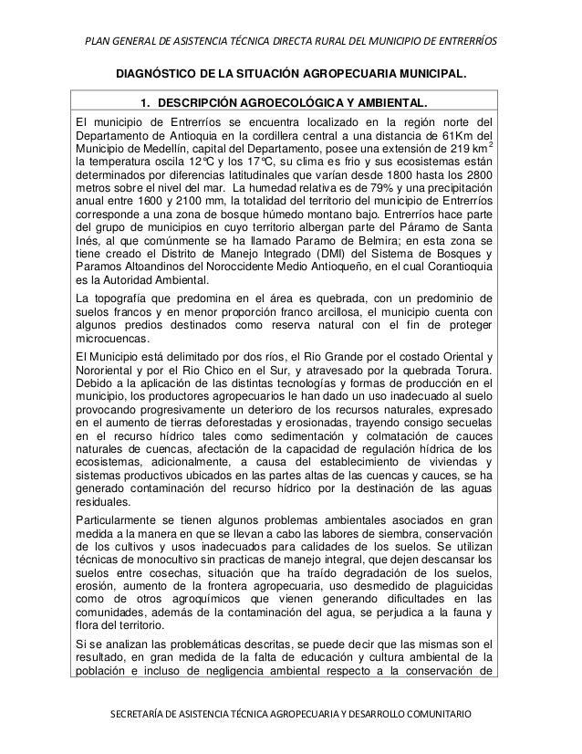 PLAN GENERAL DE ASISTENCIA TÉCNICA DIRECTA RURAL DEL MUNICIPIO DE ENTRERRÍOS       DIAGNÓSTICO DE LA SITUACIÓN AGROPECUARI...