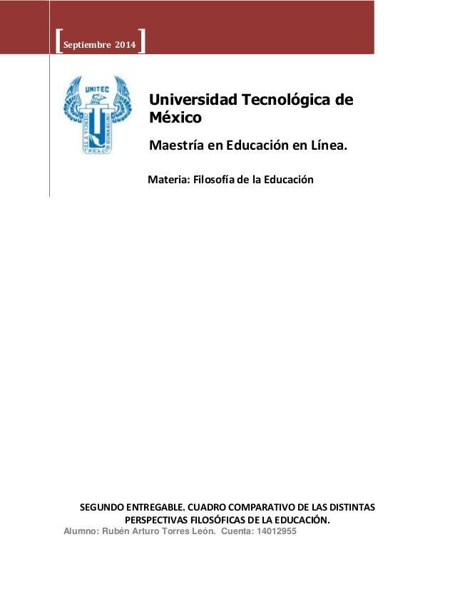 [Septiembre 2014 ]  Universidad Tecnológica de  México  Maestría en Educación en Línea.  Materia: Filosofía de la Educació...
