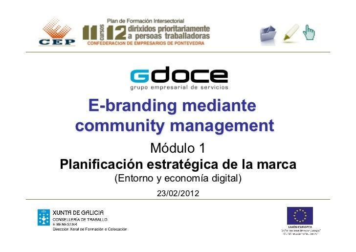 E-branding mediante  community management              Módulo 1Planificación estratégica de la marca        (Entorno y eco...
