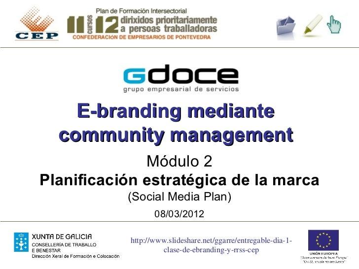E-branding mediante  community management              Módulo 2Planificación estratégica de la marca           (Social Med...