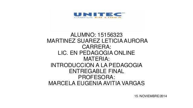 ALUMNO: 15156323 MARTINEZ SUAREZ LETICIA AURORA CARRERA: LIC. EN PEDAGOGIA ONLINE MATERIA: INTRODUCCION A LA PEDAGOGIA ENT...