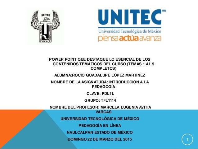 1 POWER POINT QUE DESTAQUE LO ESENCIAL DE LOS CONTENIDOS TEMÁTICOS DEL CURSO (TEMAS 1 AL 5 COMPLETOS) ALUMNA:ROCIO GUADALU...