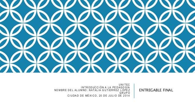 UNITEC INTRODUCCIÓN A LA PEDAGOGÍA NOMBRE DEL ALUMNO: NATALIA GUTIERREZ LÓPEZ GRUPO CIUDAD DE MÉXICO, 20 DE JULIO DE 2014 ...