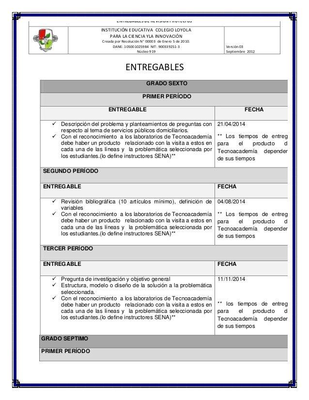 ENTREGABLES DE REVISIÓN PROYECTOS  INSTITUCIÓN EDUCATIVA COLEGIO LOYOLA PARA LA CIENCIA YLA INNOVACIÓN Creada por Resoluci...