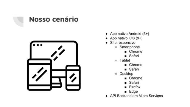 Nosso cenário ● App nativo Android (5+) ● App nativo iOS (9+) ● Site responsivo ○ Smartphone ■ Chrome ■ Safari ○ Tablet ■ ...