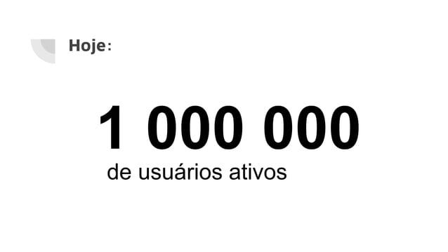 Hoje: 1 000 000 de usuários ativos