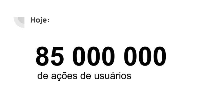 Hoje: 85 000 000 de ações de usuários