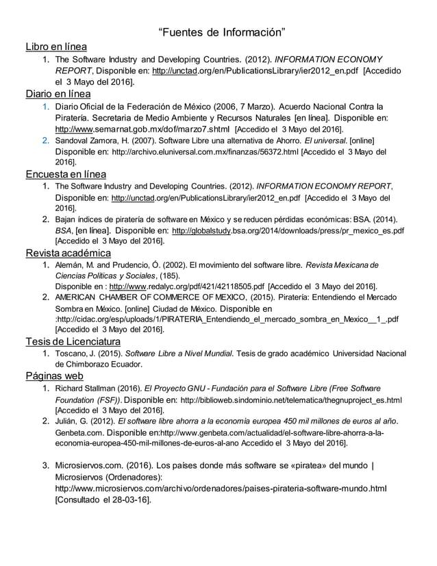 """""""Fuentes de Información"""" Libro en línea 1. The Software Industry and Developing Countries. (2012). INFORMATION ECONOMY REP..."""
