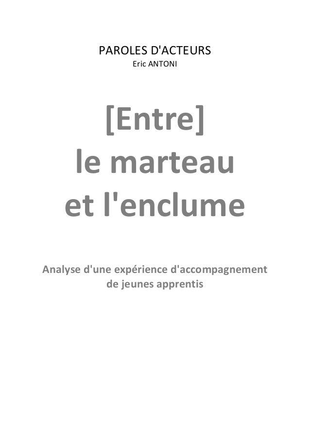 PAROLES D'ACTEURS Eric ANTONI  [Entre] le marteau et l'enclume Analyse d'une expérience d'accompagnement de jeunes apprent...