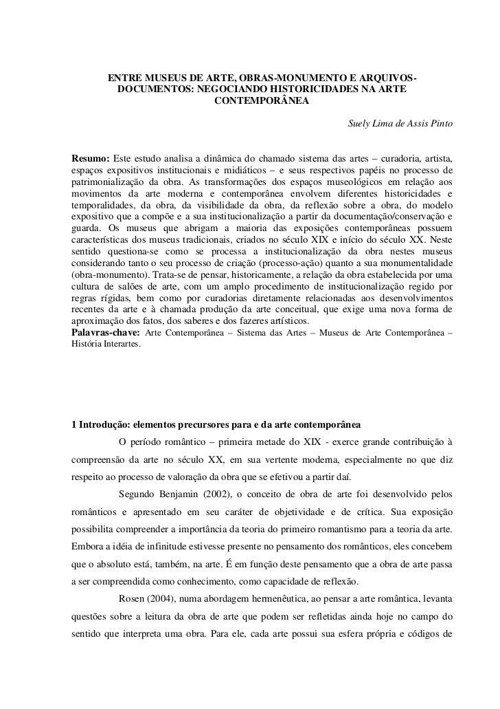 ENTRE MUSEUS DE ARTE, OBRAS-MONUMENTO E ARQUIVOS-           DOCUMENTOS: NEGOCIANDO HISTORICIDADES NA ARTE                 ...