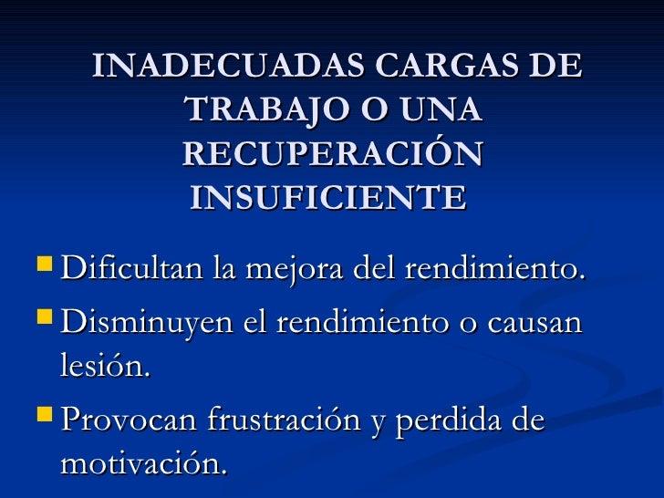 INADECUADAS CARGAS DE       TRABAJO O UNA       RECUPERACIÓN       INSUFICIENTE Dificultan la mejora del rendimiento. Di...